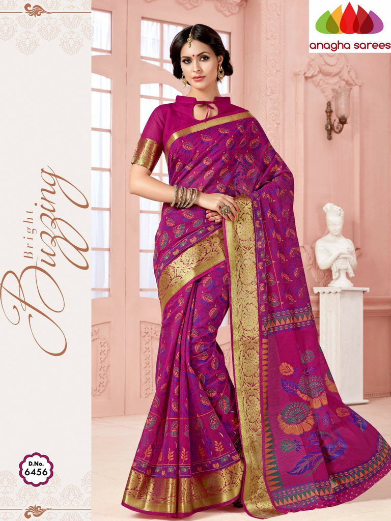 Fancy Cotton Saree - Magenta/Big Zari Border : ANA_337 Anagha Sarees