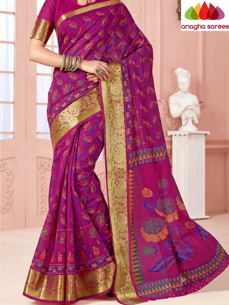 Anagha Sarees Cotton saree Fancy Cotton Saree - Magenta/Big Zari Border : ANA_337