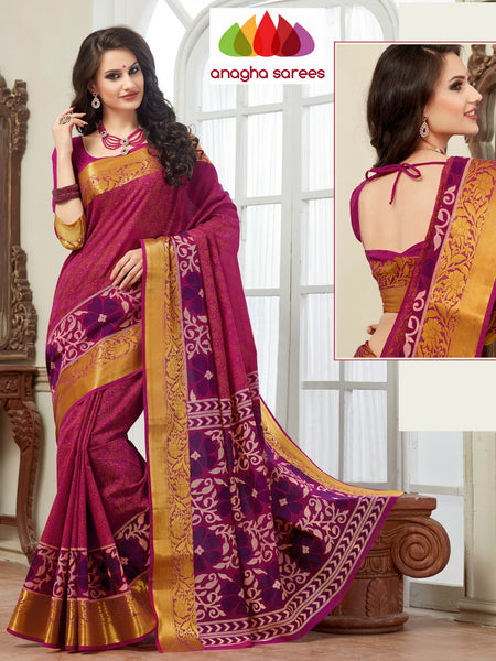 Anagha Sarees Cotton saree Fancy Cotton Saree - Magenta/Long Border : ANA_126