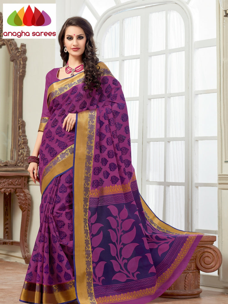 Fancy Cotton Saree - Magenta/Woven Border : ANA_132 Anagha Sarees
