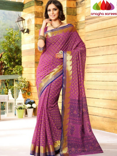 Anagha Sarees Cotton saree Fancy Cotton Saree - Magenta/Zari-Mango Border : ANA_208