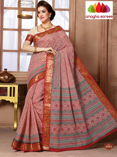 Anagha Sarees Cotton saree Fancy Cotton Saree - Maroon : ANA_93