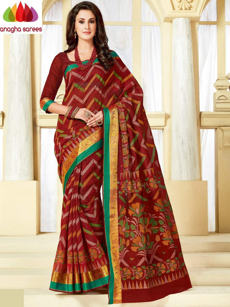 Fancy Cotton Saree - Maroon : ANA_A05 Anagha Sarees