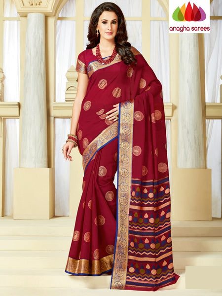 Fancy Cotton Saree - Maroon : ANA_A23