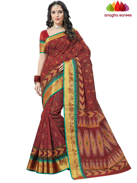 Fancy Cotton Saree - Maroon : ANA_C99