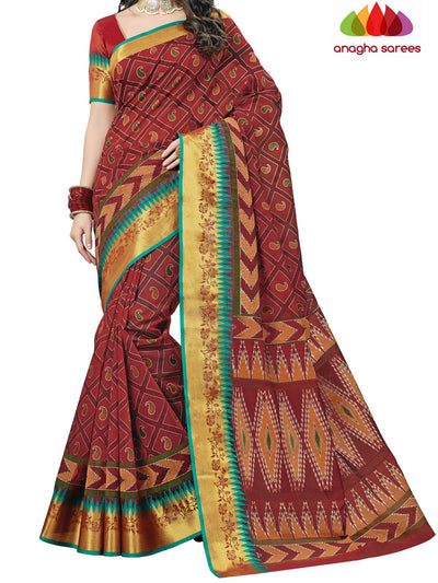 Fancy Cotton Saree - Maroon : ANA_C99 - Anagha Sarees