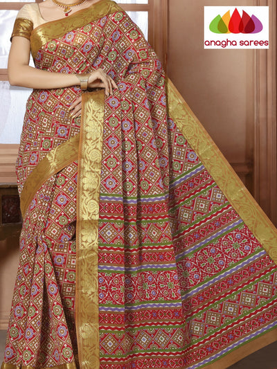 Fancy Cotton Saree - Maroon/Multicolor : ANA_107 - Anagha Sarees