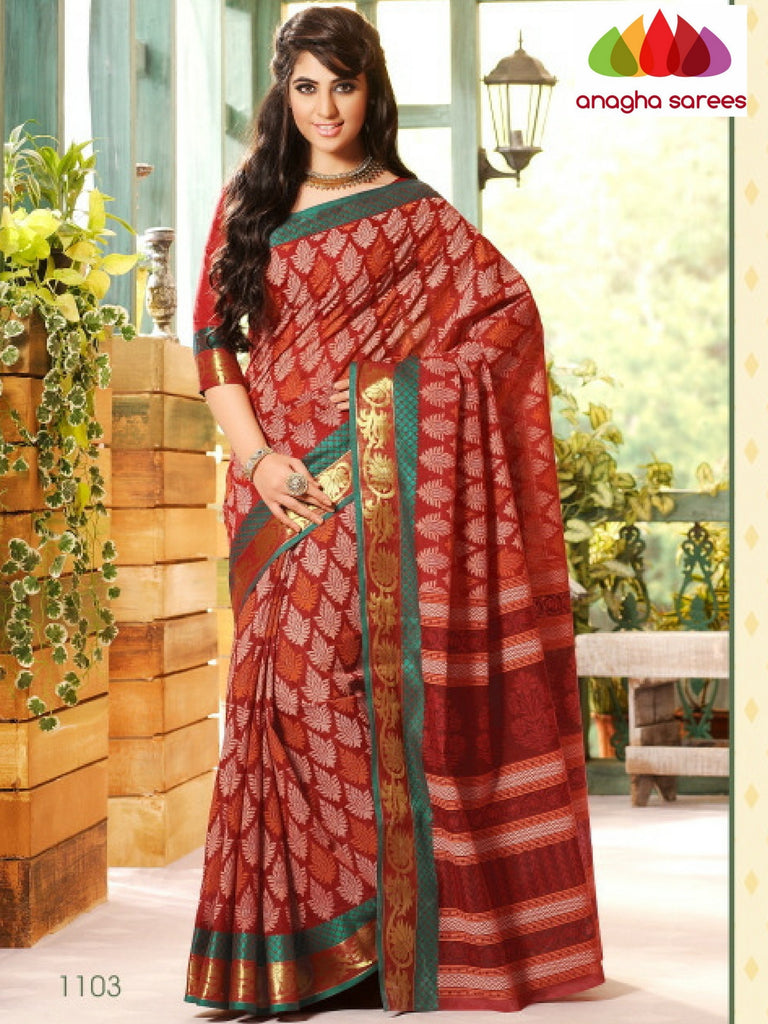Fancy Cotton Saree - Maroon/ Zari-Woven Border : ANA_213 Anagha Sarees