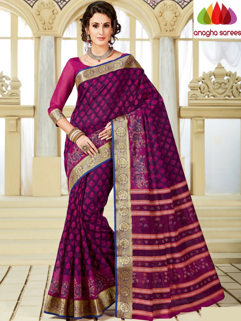 Fancy Cotton Saree - Magenta : ANA_A28 Anagha Sarees