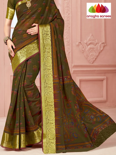 Fancy Cotton Saree - Mehendi Green/Big Zari Border : ANA_328 - Anagha Sarees