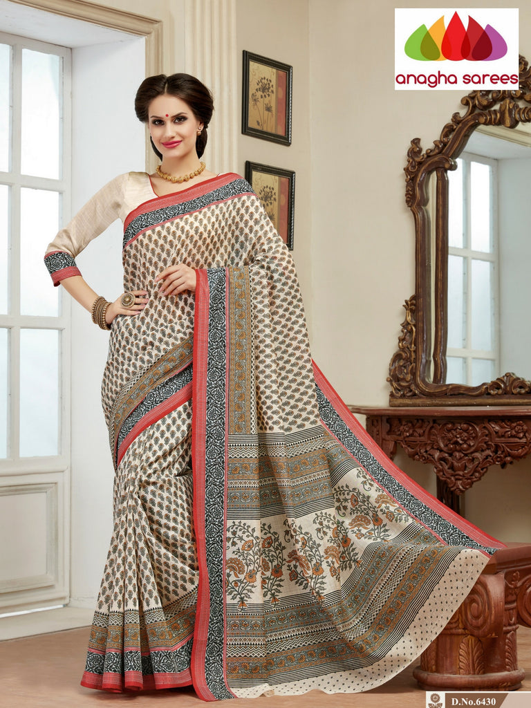 Fancy Cotton Saree - Multicolor/Black : ANA_110 Anagha Sarees