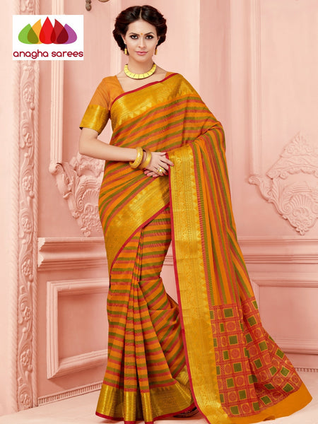 Anagha Sarees Cotton saree Fancy Cotton Saree - Mustard/Big Zari Border : ANA_336
