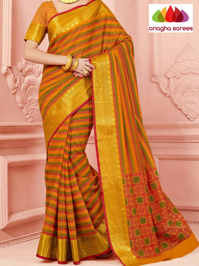 Fancy Cotton Saree - Mustard/Big Zari Border : ANA_336 - Anagha Sarees