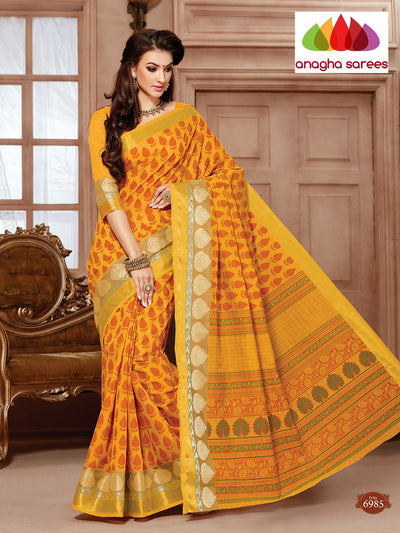 Fancy Cotton Saree - Mustard/Red : ANA_094 - Anagha Sarees