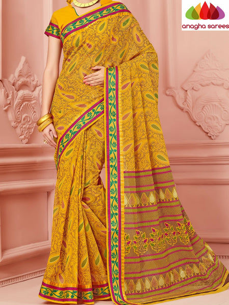 Anagha Sarees Cotton saree Fancy Cotton Saree - Mustard/Zari-Woven Border : ANA_345