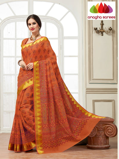 Fancy Cotton Saree - Orange : ANA_121 - Anagha Sarees
