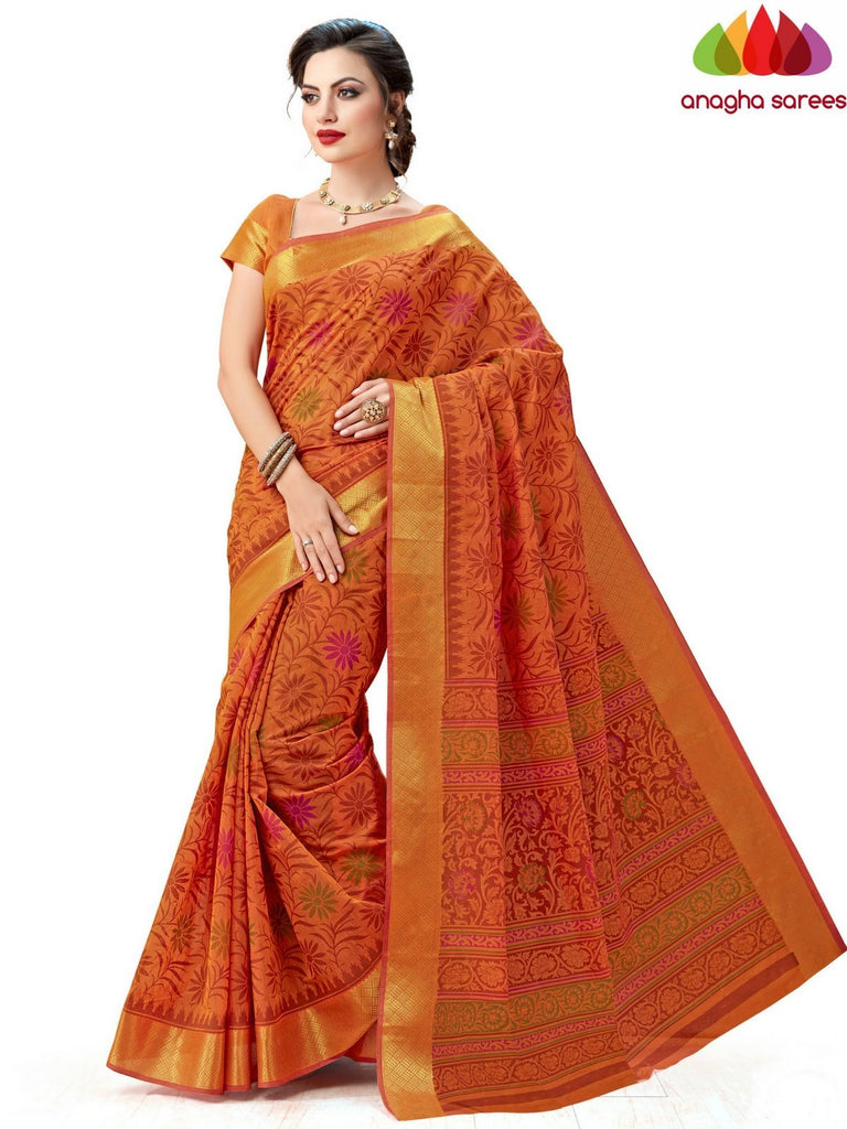 Anagha Sarees Cotton saree Fancy Cotton Saree -Orange : ANA_607