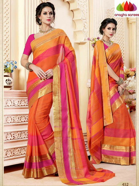 Anagha Sarees Cotton saree Fancy Cotton Saree - Orange/Multicolor : ANA_868
