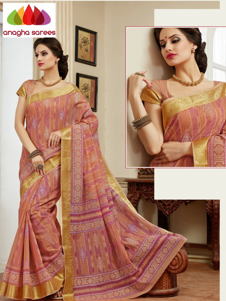 Fancy Cotton Saree - Peach : ANA_117 Anagha Sarees