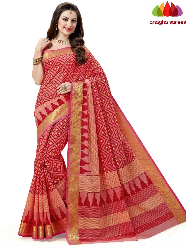 Fancy Cotton Saree - Peach : ANA_608 Anagha Sarees