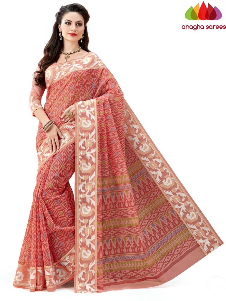 Fancy Cotton Saree - Peach : ANA_609 Anagha Sarees