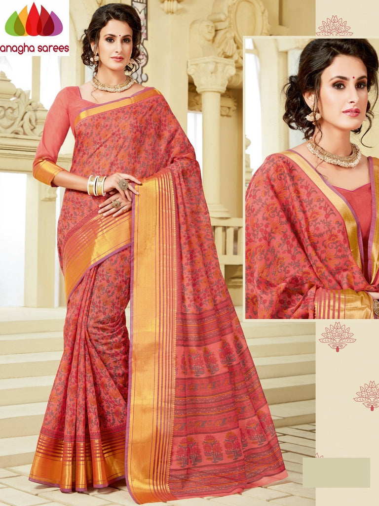 Anagha Sarees Cotton saree Fancy Cotton Saree Peach -: ANA_A25