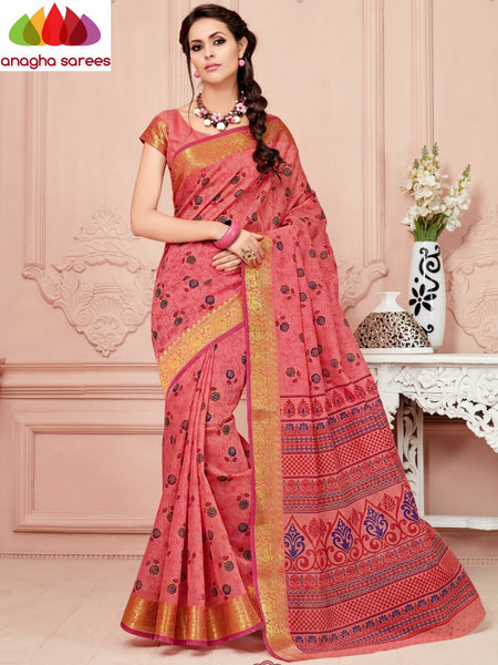 Anagha Sarees Cotton saree Fancy Cotton Saree - Peach/Big Zari Border : ANA_333