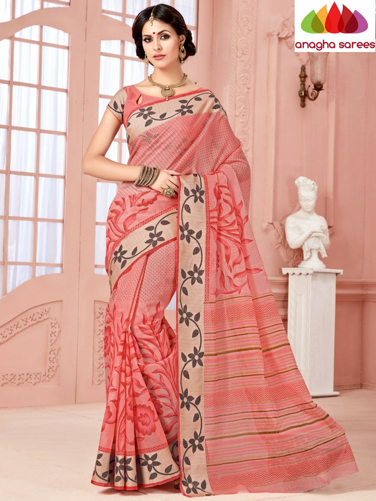 Fancy Cotton Saree - Peach/Floral Woven Border : ANA_351 Anagha Sarees