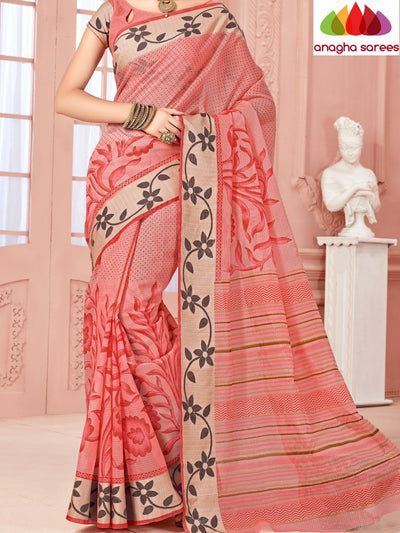 Fancy Cotton Saree - Peach/Floral Woven Border : ANA_351 - Anagha Sarees