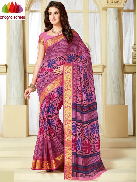 Anagha Sarees Cotton saree Fancy Cotton Saree Pink -: ANA_A27