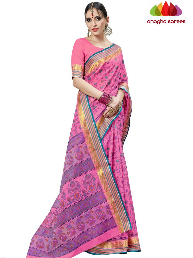 Anagha Sarees Cotton saree Fancy Cotton Saree - Pink : ANA_D18