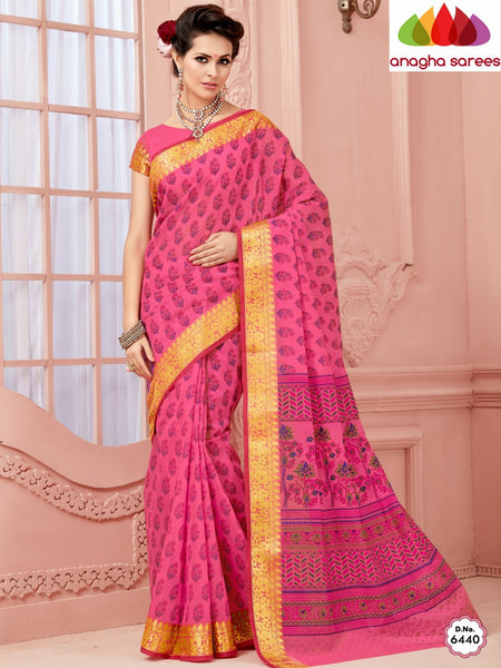 Anagha Sarees Cotton saree Fancy Cotton Saree - Pink/Big Zari Border : ANA_332