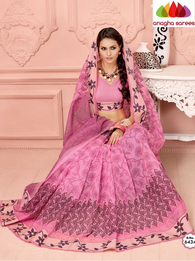 Fancy Cotton Saree - Pink/Floral Woven Border : ANA_352 - Anagha Sarees