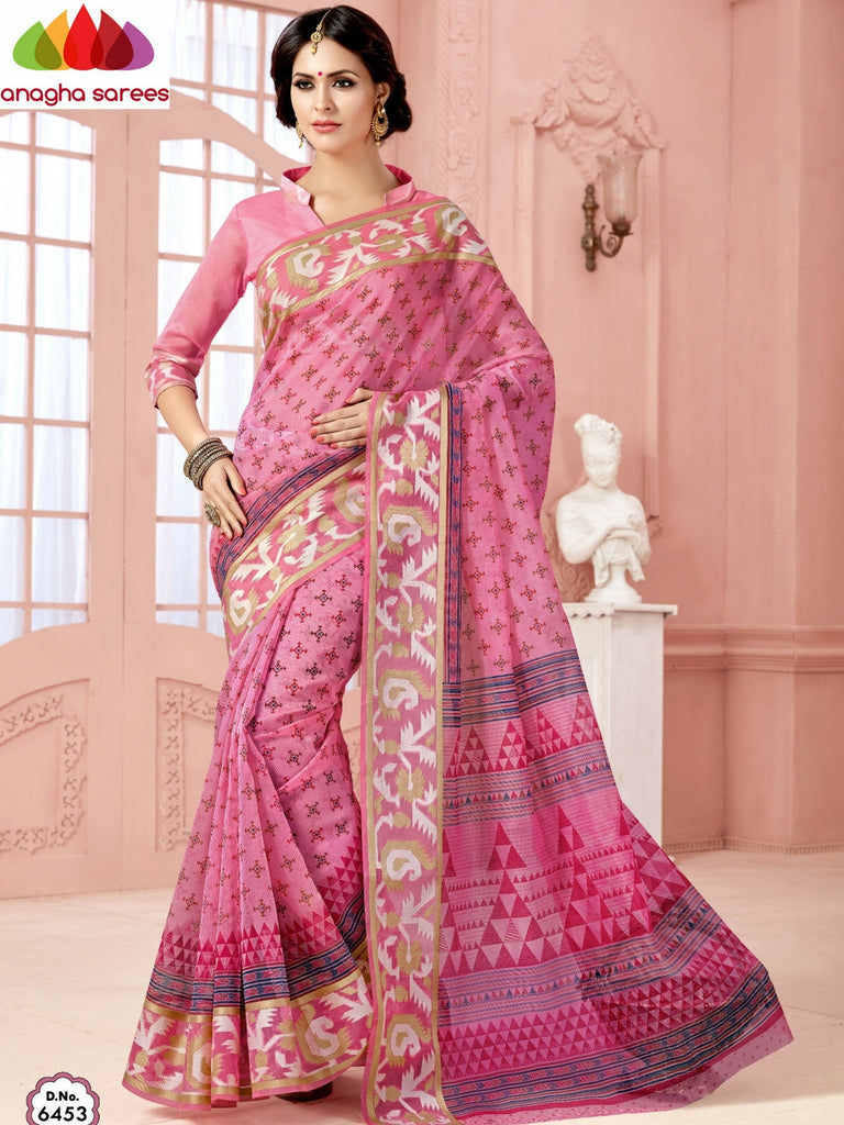 Fancy Cotton Saree - Pink/Rich Woven Border : ANA_477 Anagha Sarees