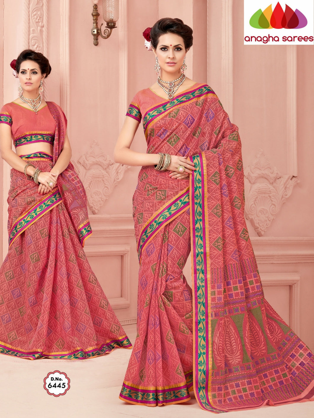Anagha Sarees Cotton saree Fancy Cotton Saree - Pink/Zari-Woven Border : ANA_346