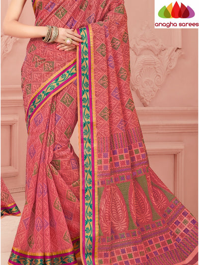 Fancy Cotton Saree - Pink/Zari-Woven Border : ANA_346 - Anagha Sarees