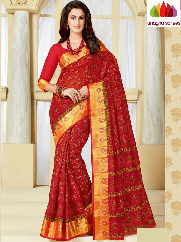 Fancy Cotton Saree - Red : ANA_999 Anagha Sarees