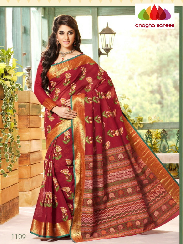 Fancy Cotton Saree - Red/Big Zari Border : ANA_150 Anagha Sarees