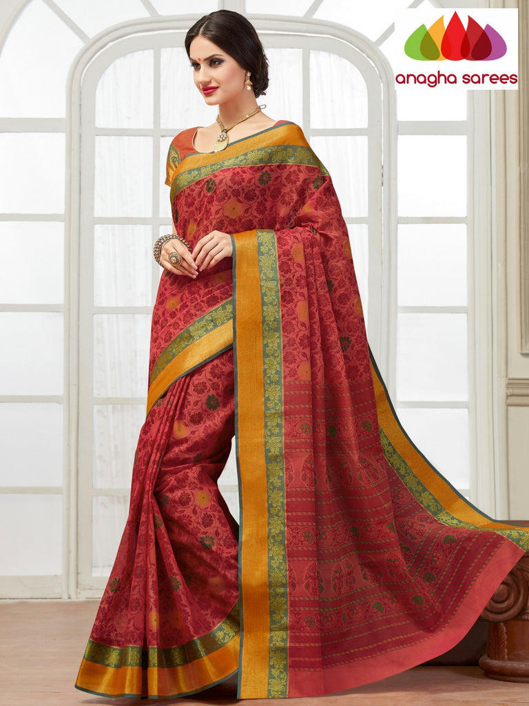 Fancy Cotton Saree - Red/Woven Border : ANA_135 Anagha Sarees