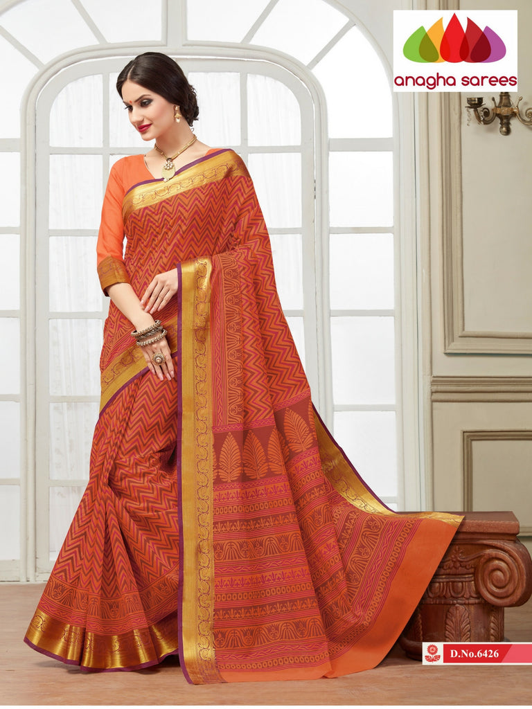 Anagha Sarees Cotton saree Fancy Cotton Saree - Reddish orange (Rust) : ANA_114