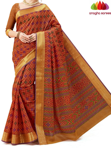 Anagha Sarees Cotton saree Fancy Cotton Saree -Rust : ANA_614