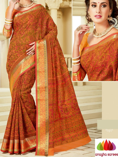Fancy Cotton Saree - Rust : ANA_A03 - Anagha Sarees