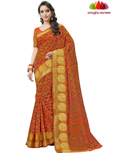 Fancy Cotton Saree - Rust : ANA_C92 - Anagha Sarees