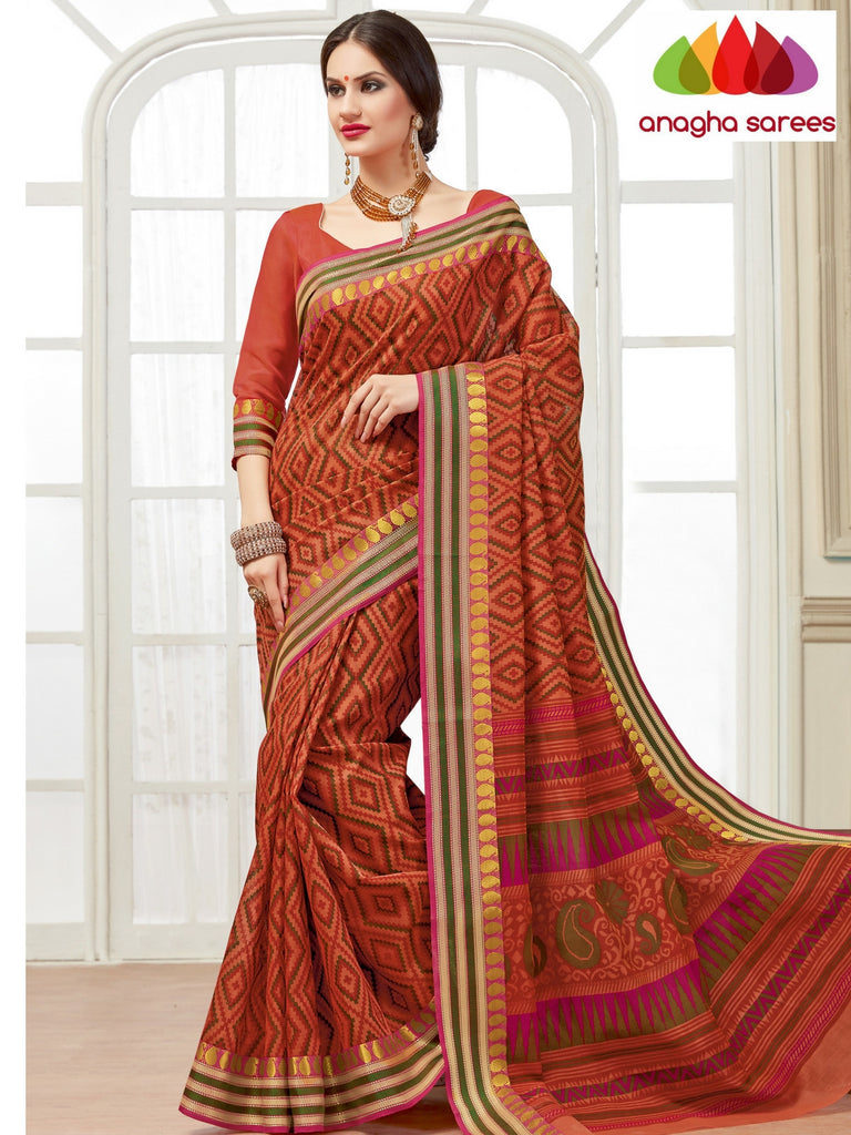 Fancy Cotton Saree -  Rust/Woven Border : ANA_129 Anagha Sarees