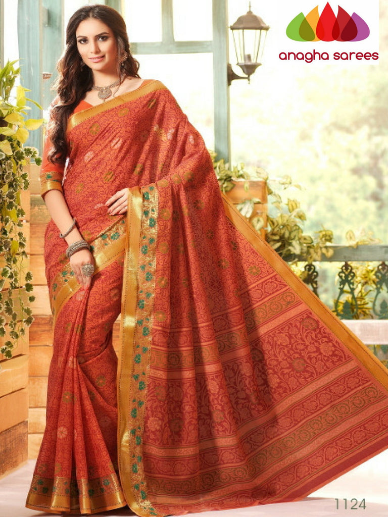 Fancy Cotton Saree -  Rust/Zari-Woven Border : ANA_227 Anagha Sarees