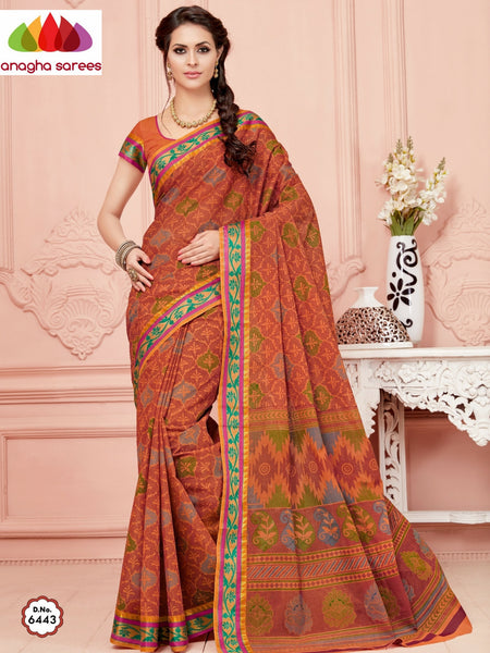 Anagha Sarees Cotton saree Fancy Cotton Saree - Rust/Zari-Woven Border : ANA_348