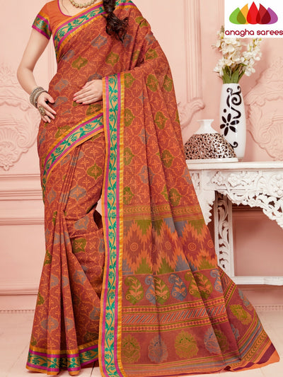 Fancy Cotton Saree - Rust/Zari-Woven Border : ANA_348 - Anagha Sarees