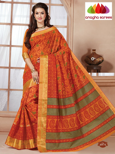 Fancy Cotton Saree - Saffron : ANA_085 - Anagha Sarees