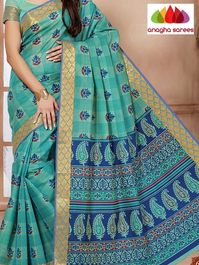 Fancy Cotton Saree - Sea green : ANA_088 - Anagha Sarees