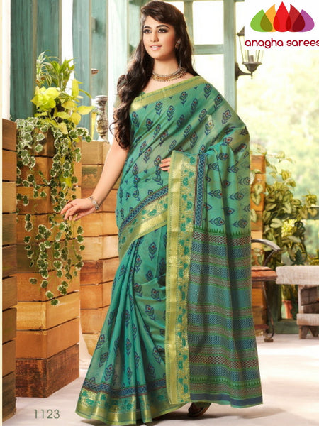 Anagha Sarees Cotton saree Fancy Cotton Saree - Sea Green/Woven-Zari Border : ANA_223